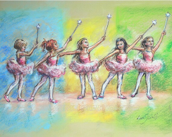 Ballet ballerina Original Art Children Painting Dancers s little girls dancing pastel decor wall kids art 16x20