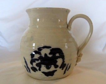 Large Blue and White Stoneware Pottery Ball Pitcher Farmhouse Decor or Dining