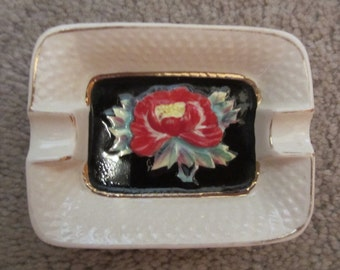 Small Floral Ceramic Ashtray - Vintage 1950s - Japan Marked