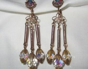 Vintage Clip On Earrings AB Crystal Rhinestone Dangling Goldtone