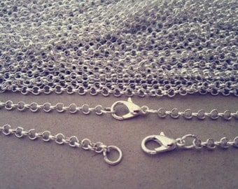 20pcs  2mm 17inch silver Link chain With Lobster Clasp