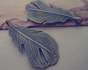 6pcs Antique bronze feather Pendant charm 24mmx49mm
