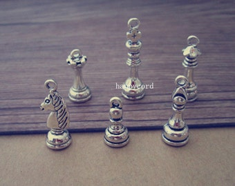 20pcs Antique silver (Mixed color ) chess charm pendant  8mmx23mm