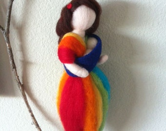 MADE TO ORDER- Babywearing Rainbow Goddess needle felted sculpture