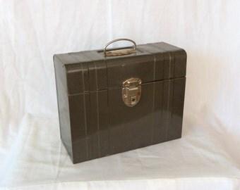Vintage Industrial Metal File Box Machine Age