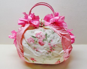 Vintage flowered silk hosiery pouch, c.1920's lingerie bag made from silk ribbon, MINT CONDITION