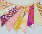 ON SALE *** Cheerful Party Bunting in Purple, Gold & Pink - The perfect decoration for Weddings, Parties and Baby Showers