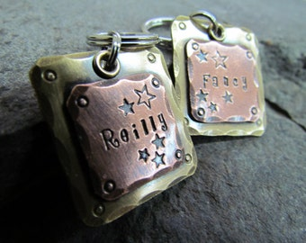 Pet ID Tag-Large Pet Tag - Copper on Brass - Mixed Metal Dog Tag- Halter/Bridle tag