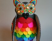 Special Order Reserved for CV- Rainbow Owl - Mexican Folk Art