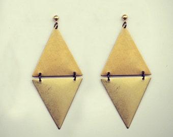 triangle earrings, geometric earrings, tribal earrings, triangle jewelry