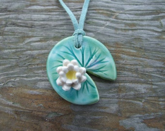 Water lily necklace ceramic green leaf  lily pad