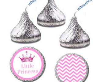 Little Princess Party Favor Candy Labels - Printable Princess Baby Shower Favor DIY, Hershey Kisses Label Stickers  (0124)