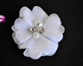 WHITE Chiffon Flowers - The Anna Collection - Petite Chiffon Flowers with Pearl and Rhinestone Centers - Headband Flower - DIY