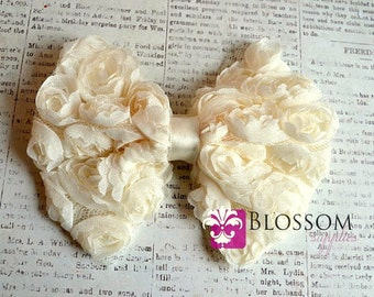 CLEARANCE Large Ivory Bow - The Rose Bow Collection - Large Rose Bow - DIY Headband - shabby frayed bows - blossom supplies Crafts Wolesale