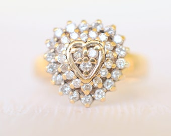 SALE! vintage 1980's/ 0.5 Carats Diamond and 9k gold engagement wedding ring / heart shaped