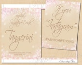 Pink and Gold Shimmer Text-Editable Signature Drink, Instagram, Menu, Guest Book, Wedding Signs: 5 x 7 - Printable Instant Download