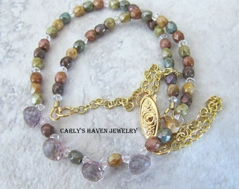 Mystic pink Quartz onion briolette, gold, and multi colored Czech bead necklace, ready to ship, gifts for women, jewelry for women, handmade