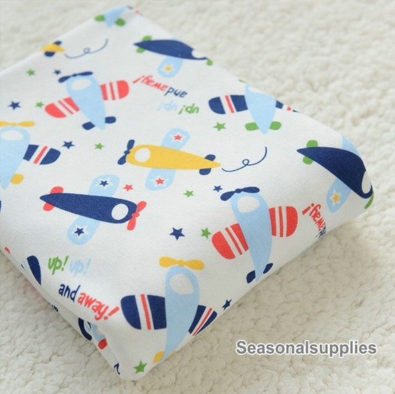 Cotton knitted fabrics colorful airplane kids chirdren for Childrens airplane fabric