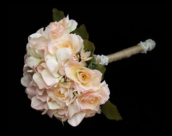 Hydrangea Bridal Bouquet - Straight From the Heart (Soft Peach and Pink)