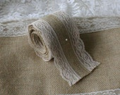 Burlap and ivory lace ribbon