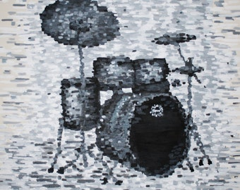 SALE Drum Kit, 24 x 24, Acrylic on canvas Original art work
