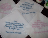 Embroidered Handkerchief Wedding Set for Mom's and Dad's of the Bride and Groom