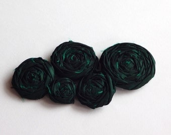 Dark Green Fabric Rosettes Embellishment