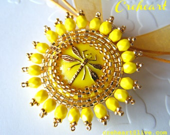 Yellow lemon Golden Dragonfly necklace, Beadwork jewelry, pendant, Czech Glass Button, Bridesmaids Gift - Creheart - The Queen of the Wind