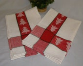 "Vintage Cotton Kitchen Towels (2) Red with Forrest Green Stripping White Background 24"" X 17"" Year Round or Holidays"
