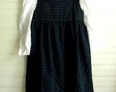 Girls Vintage Dress, Plaid Winter Dress, Black and Green Check Jumper Dress, Old Fashioned Jumper Dress with Original Tags, Girls 6 Dresses