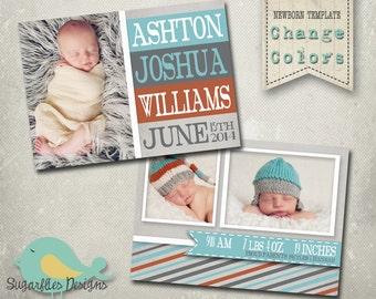 Newborn Baby Announcement PHOTOSHOP TEMPLATE - Baby Boy 002