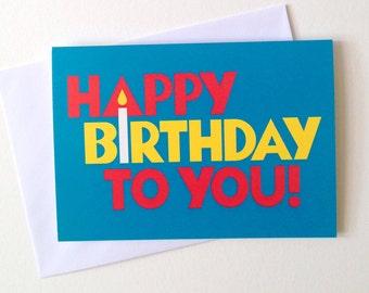 Fun Birthday Card, boyfriend birthday card, happy birthday to you, cangle card, first birthday, kids birthday card, blue baby 1st birthday