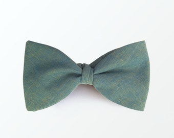 Men's Bow Tie, Blue Green Self Tie Bow Tie for Men Brother Husband Gift for Groom / READY TO SHIP