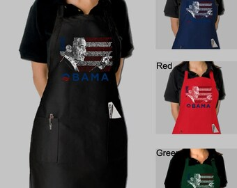 Full Length Dual Pocket Apron - President Barack Obama Created Out of All the Lyrics to America the Beautiful