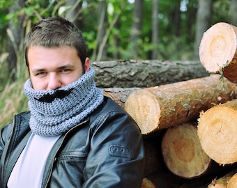 Lumbersexual Moustache male cowl, grey, black, crochet, knit, autumn fall winter accessory for man, gift for teen, boy