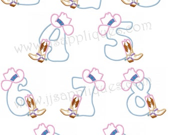 Fonts - Cowboy Themed Applique Numbers Machine Embroidery Designs - Numbers 0 thru 9 with Cowboy Hat and Boot, sizes 7 inch and 5 inch tall