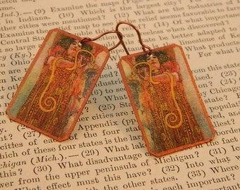 Klimt art earrings Hygeia earrings Klimt jewelry mixed media jewelry wearable art