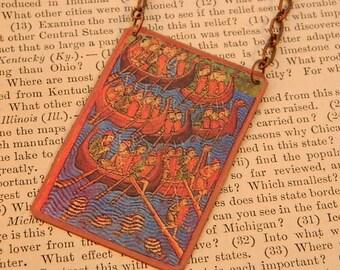 Viking necklace Viking jewelry wearable art Viking ships
