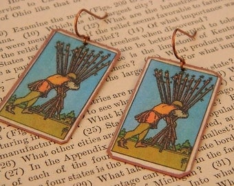 Tarot earrings tarot jewelry Ten of Wands mixed media jewelry supernatural jewelry