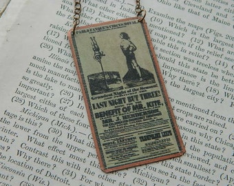 Circus necklace  Mr. Kite Beatles Inspiration mixed media jewelry