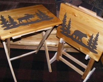 Set Of Two Wood Tv Tray Tables And Rack Moose And Bear