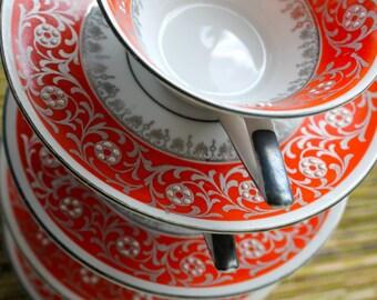 Vintage Bavaria China Demitasse  Childrens Tea Set Creidlitz Set Bright Orange