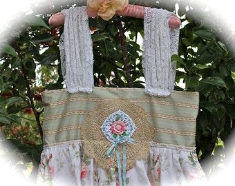 Rustic RomanticFlora Dora Dress Crocheted Rose Shabby Chic Cowgirl Gypsy Girl Mori Girl Flirty Girl