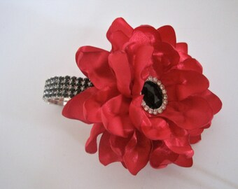 Red Satin with Black Rhinestone Wrist Corsage Flower Bracelet Bridesmaid Mother of the Bride Prom with Black Rhinestone Accent