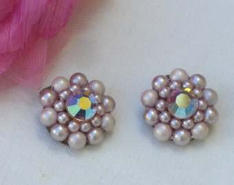 Earrings - Pink - Faux Pearls -  Crystal Centers - Clip On - Vintage