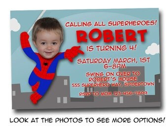 Spiderman birthday invitation, digital file, printable, photo card, superhero party invite