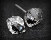 RAW HERKIMER DIAMOND Studs, Itty Bitty Natural Herkimer Diamond Earrings