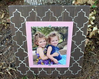 Distressed Picture Frame, Wood 8x10 Frame, Brown Picture Frame,  8x10 Picture Frame, Wood Plank Frame, Lattice Frame