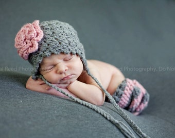 Newborn Flower Pink and Grey Ear Flap Hat And Striped Leg Warmers Photo Prop Set Infant 0-12 Months
