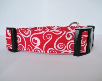 Red dog collar - adjustable, custom, red and white